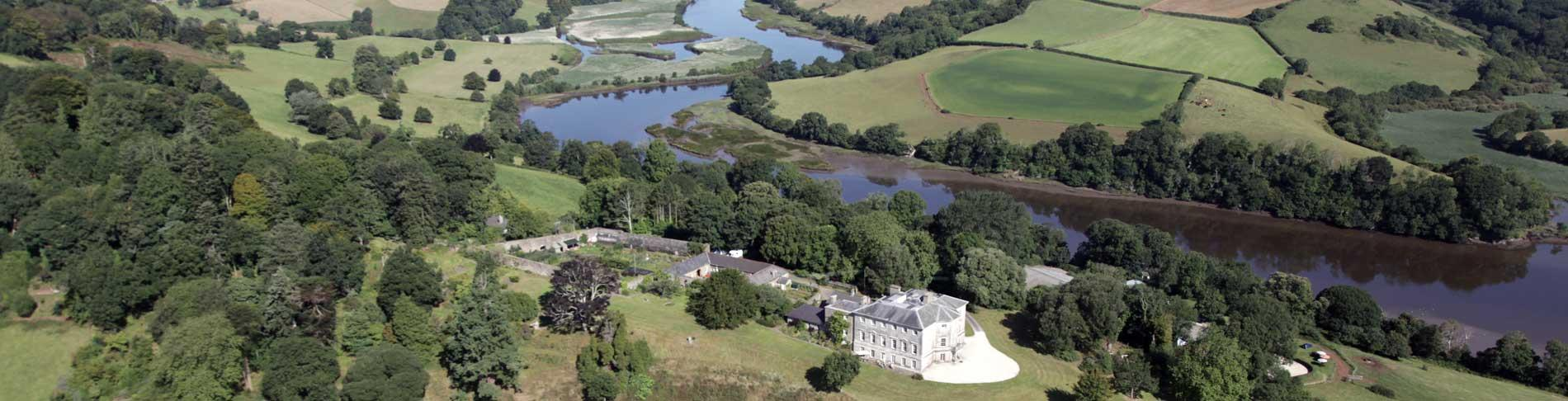 aerial view of Sharpham House & River Dart
