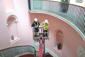 Taking the scissor lift to inspect the dome - July 2017