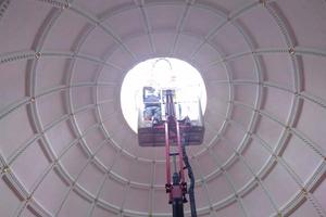 Moving towards the light, inspecting the dome - July 2017