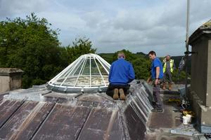 Fixing the skylight in place - pic by Archive volunteer Clive