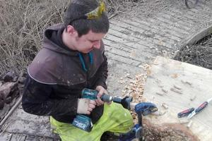 Volunteer Rob working in situ