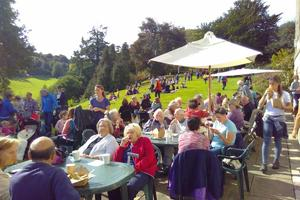 Busy crowds enjoying the South Terrace on this gorgeous Apple Day 2018
