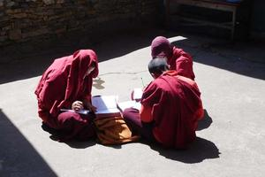 Girls studying at a nunnery