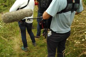 The BBC Countryfile film crew at Sharpham