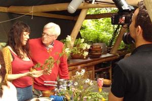 Brigit-Anna talking with Countryfile's John Craven about identifying dangerous plants as well as useful ones. Here she's talking about hemlock.