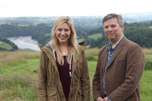 Trust Director Julian Carnell meets BBC Countryfile's Naomi Wilkinson at Sharpham Meadow (picture copyright: BBC)