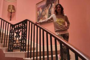 ITV's Julia Bradbury experiences the Sharpham House staircase on the day of filming in September 2020