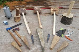 Tools used in fashioning a green oak bench, with Peter Lanyon at Sharpham