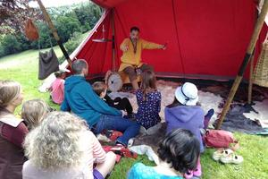 Rattlebox Storytelling has a rapt crowd at Sharpham Open Day
