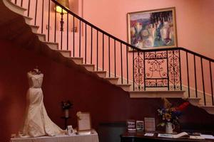 Our wedding display - with dress courtesy of LunaDaisy, Totnes - in our stairwell on Open Day