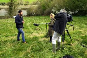An ITV crew interviews Ambios Director Jack Skuse about our rewilding project Wild for People