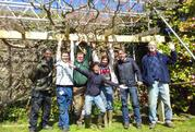 Volunteers build a new pergola