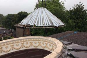 The old skylight comes off Sharpham House - August 2017