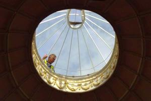 Making final adjustments to Sharpham's new skylight