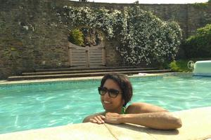 Enjoy our pool on good weather days at Sharpham