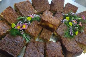 Home-grown rhubarb & polenta cake, made by Janet